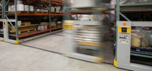 high-density storage system movable shelves