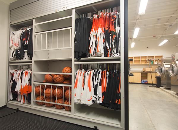 high school basketball equipment storage system