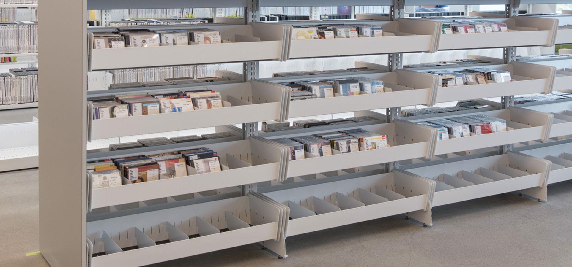 library browsing bins