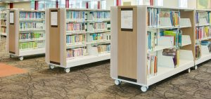 library shelving on wheels