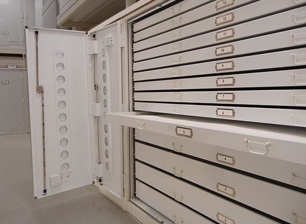 museum cabinet oversize bi-fold drawers