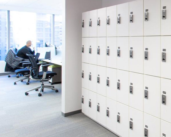 modern office secure employee storage
