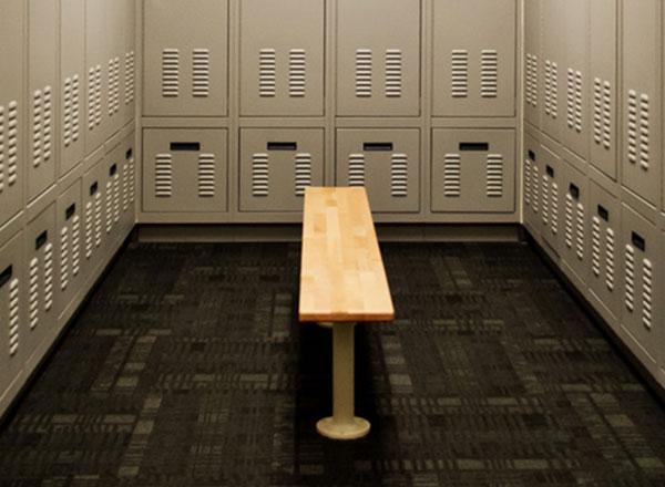 police locker bench room