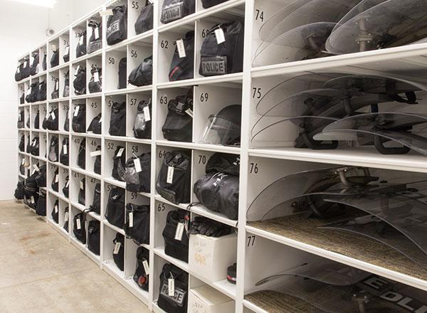 police shield gear storage