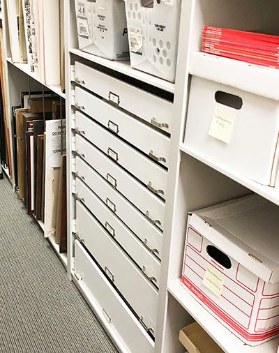 school archive shelving drawer storage system