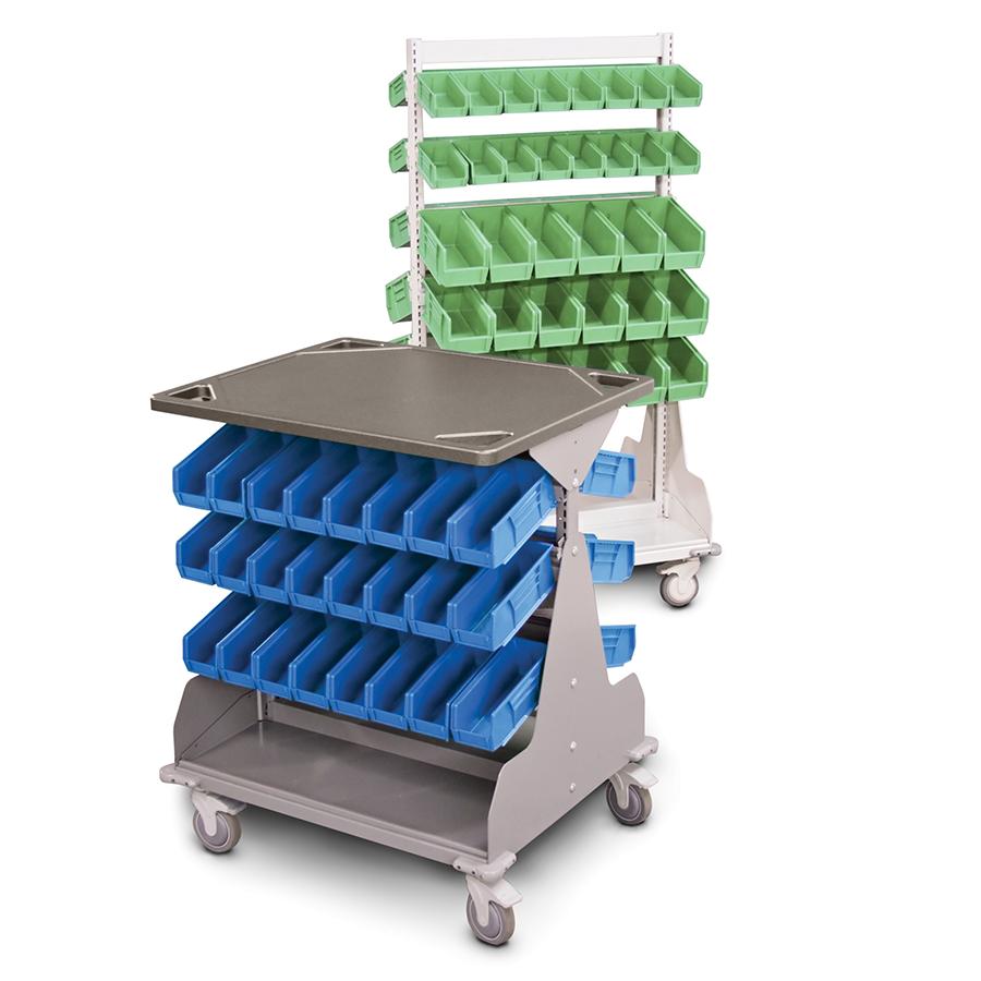 shelf bin storage wheel hospital cart