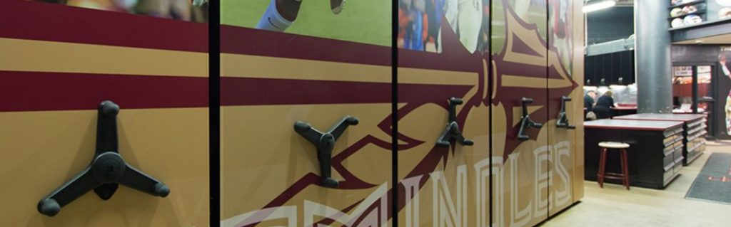 spacesaver football mobile shelving systems custom graphics