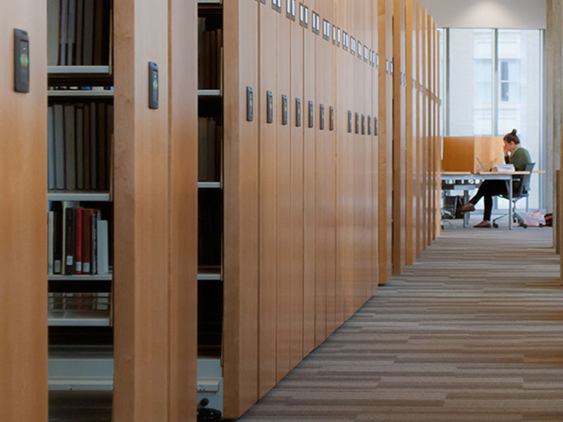 campus library compact shelving