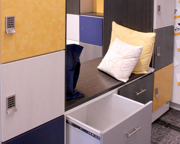 day-use locker take seat wall