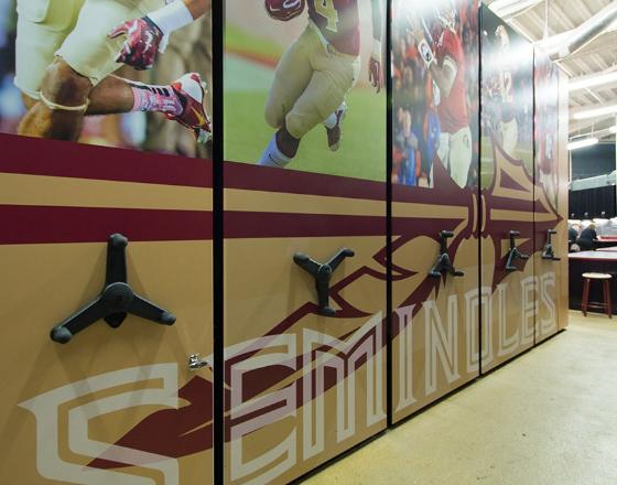 university athletic facility football equipment shelving system
