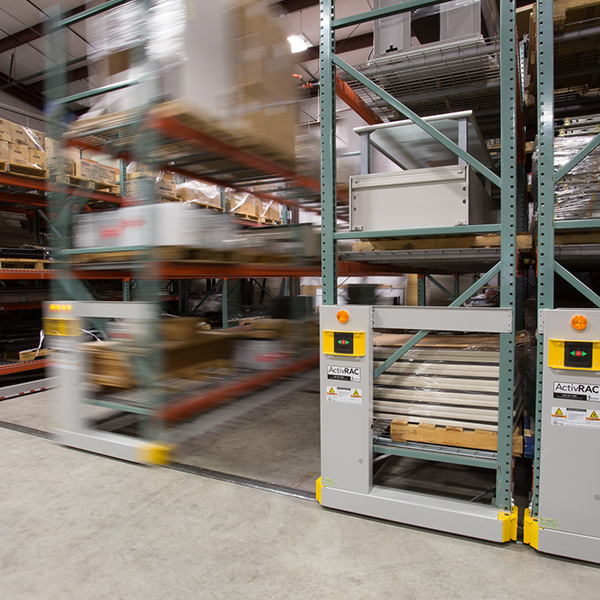 warehouse storage organization moveable systems