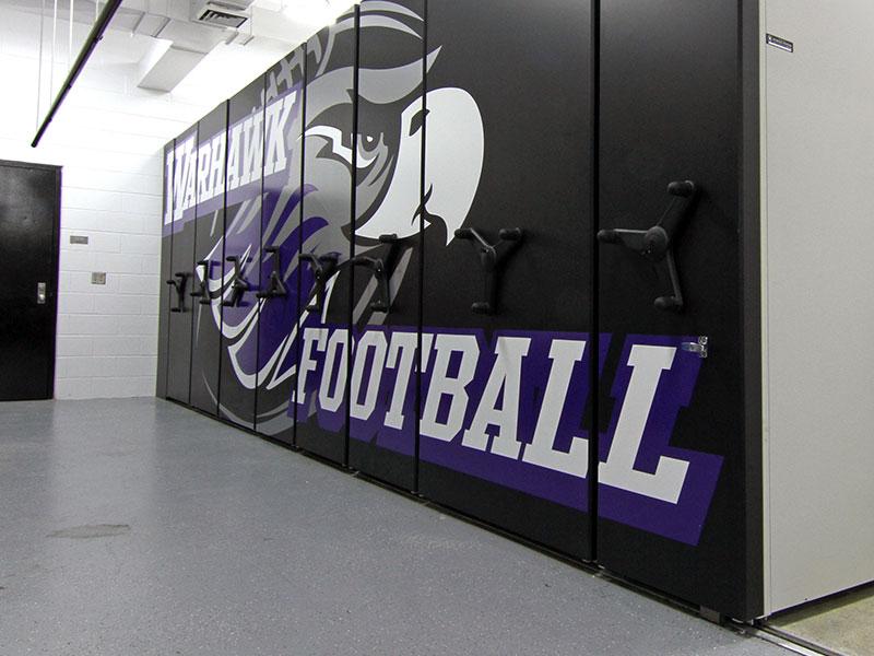 low-profile football team storage